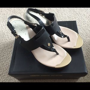 Black & Gold Guess wedge shoes